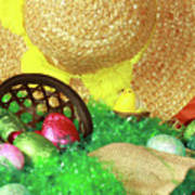 Eggs And A Bonnet For Easter Poster