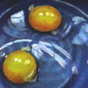 Eggs In Blue Bowl Poster