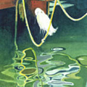 Egret On A Rope Poster