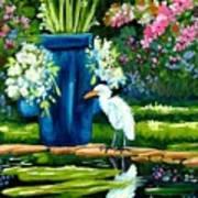 Egret Visits Goldfish Pond Poster