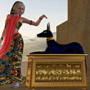 Egyptian Woman And Anubis Statue Poster