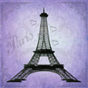 Eiffel Tower Collage Purple Poster
