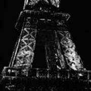 Eiffel Tower Illuminated At Night First And Second Decks Paris France Black And White Poster
