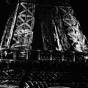 Eiffel Tower Illuminated At Night First Floor Deck Paris France Black And White Poster