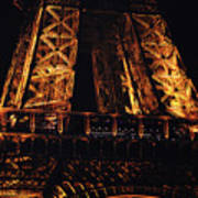 Eiffel Tower Illuminated At Night First Floor Deck Paris France Poster