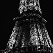 Eiffel Tower Illuminated Midsection At Night Paris France Black And White Poster