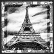 Eiffel Tower In Black And White Design II Poster