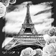 Eiffel Tower In Black And White Design IIi Poster