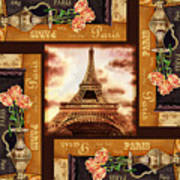 Eiffel Tower Roses Dance Poster