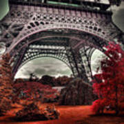 Eiffel Tower Surreal Photo Red Trees Paris France Poster
