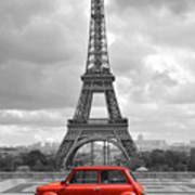 Eiffel Tower With Car. Black And White Photo With Red Element. Poster