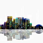 El Paso Mexico Skyline Poster