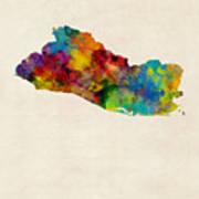 El Salvador Watercolor Map Poster