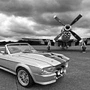Eleanor Mustang With P51 Black And White Poster