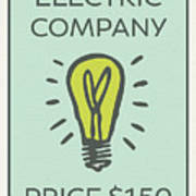 Electric Company Vintage Monopoly Board Game Theme Card Poster