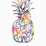 Electric Pineapple Thank You Card- Art By Linda Woods Poster
