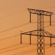 Electricity Pylon At Sunset  Poster
