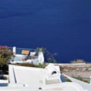 Elegant Restaurant In Santorini, Greece  Poster