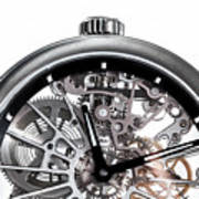 Elegant Watch With Visible Mechanism, Clockwork Close-up. Poster