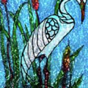 Elegant White Heron Poster
