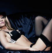 Elegant Young Woman In Black Lingerie Poster