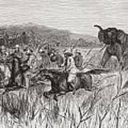 Elephant Hunters In The 19th Century Poster