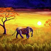 Elephant In Purple Twilight Poster