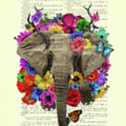 Elephant With Colorful Flowers Illustration Poster