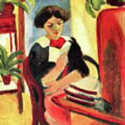 Elisabeth At Her Desk 2 By August Macke Poster