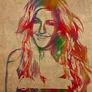 Ellie Goulding Watercolor Portrait Poster