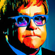 Elton John Blue Eyes Portrait Poster