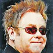 Elton john classic portrait Poster
