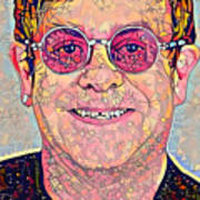 Elton John Triangles Portrait Poster