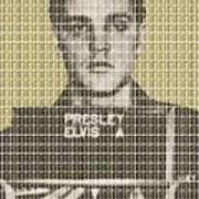 Elvis Army Mug Shot - Gold Poster