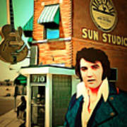 Elvis Presley The King At Sun Studio Memphis Tennessee 20160216 Square Poster