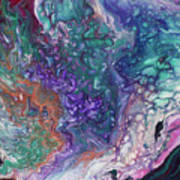 Emerald And Amethyst. Abstract Fluid Acrylic Painting Poster