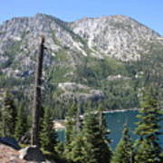 Emerald Bay With Mountain Poster
