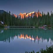 Emerald Lake At Sunrise Hour Poster