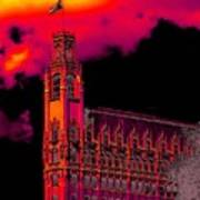 Emily Morgan Hotel With Fiery Sky Poster