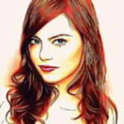 Emma Stone Portrait Colored Pencil Poster