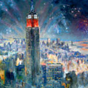 Empire State Building In 4th Of July Poster
