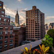 Empire State Building Sunset Rooftop Garden Poster