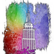 Empire State Of Mind Cool Rainbow 3 Dimensional Poster