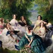 Empress Eugenie Surrounded By Her Ladies In Waiting Poster by Franz Xaver Winterhalter