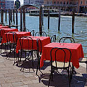 Empty Canal Side Tables Awaiting Hungry Customers In Venice, Italy  Poster