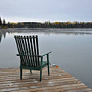 Empty Chair On Autumn Morning Poster