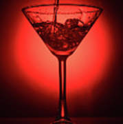 Empty Cocktail Glass On Red Background Poster