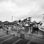 Empty Outdoor Amusement Park On A Cold Wet British Summer Day North Wales Uk Poster
