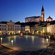 Empty Tartini Square In Piran Slovenia With Courthouse, City Hal Poster