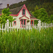 Enchanted Cottage With Picket Fence Poster